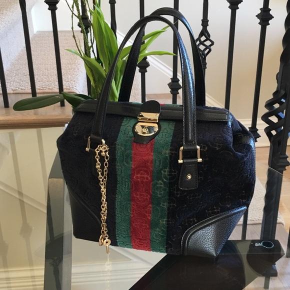 b97e8d852680 Gucci Bags | Black Velvet Boston Handbag | Poshmark